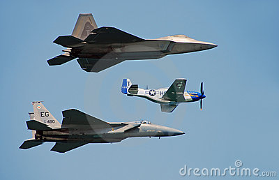 Three generations of US Air Force fighters Editorial Stock Image