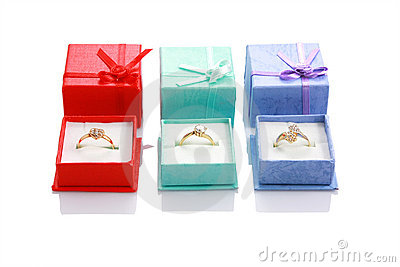 Three gift ring boxes isolated on white