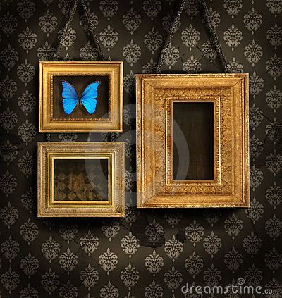 Free Three Gilded Frames On Antique Wallpaper Royalty Free Stock Photos - 6803788