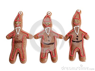 Three gingerbread santa clause cookie figures
