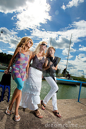 Three girlfriends in the port