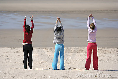 Three girls in the beach