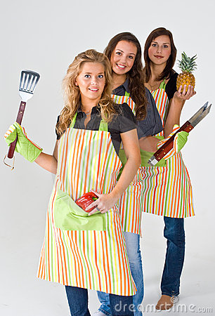 Three girls cooking