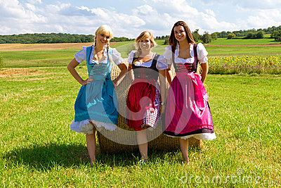 Three girls in Dirndl