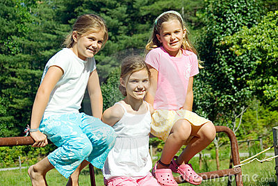 Three Girls on Fence/Triplets
