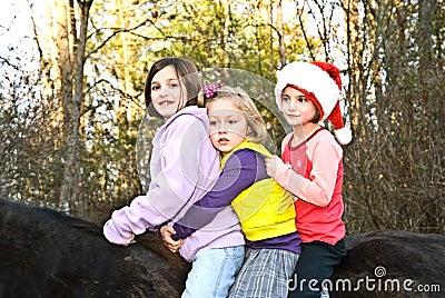 Three Girls on a Horse