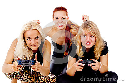 The three girls play video games