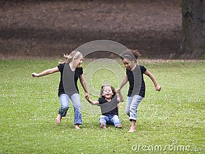 Three girls playing