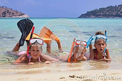 Three girls in the sea