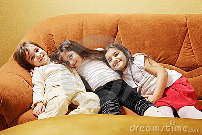 Three girls on sofa