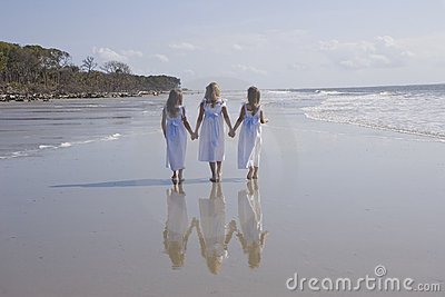 Three Girls Walking the Beach