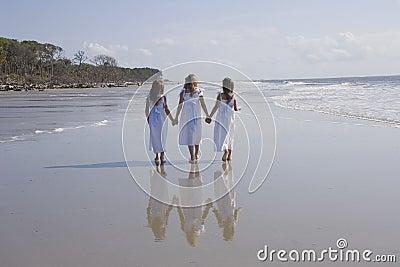 Three Girls Walking the Beach