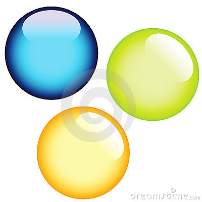 Three glass buttons