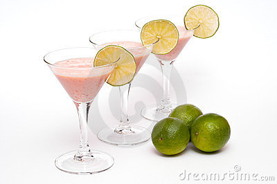 Three glasses with buttermilk fruit cocktail