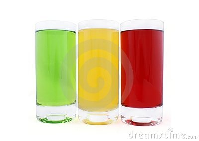 Three glasses with coloured juice