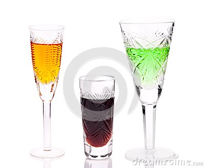 Three glasses with different drinks