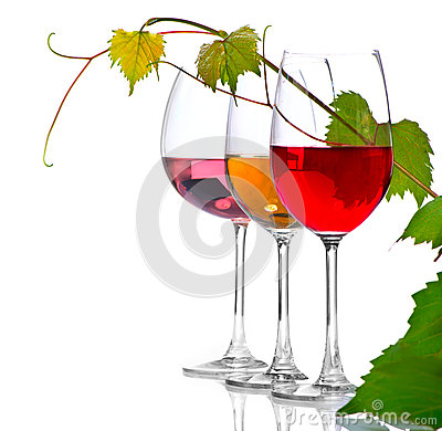 Free Three Glasses Of Wine Isolated On White Stock Photos - 47705373