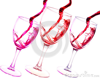 Three glasses of red wine abstract splash isolated on white