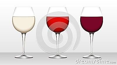 Three glasses of wine.