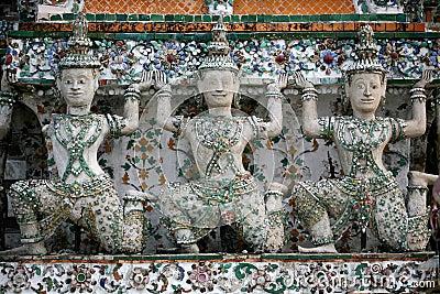 Three Glazed God Statues Thailand