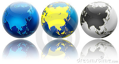 Three globe variations Asia and Oceania