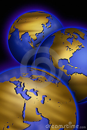 Free Three Globes With Maps Of Different Continents Stock Photos - 14845263