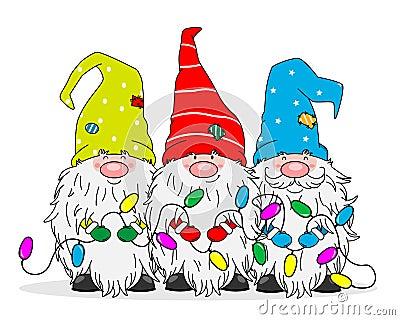 Three gnomes with Christmas lights Vector Illustration