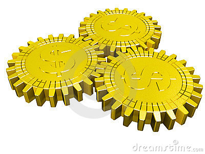 Three golden dollar gears