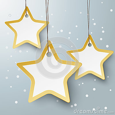 Free Three Golden Star Price Stickers PiAd Royalty Free Stock Photography - 35124447