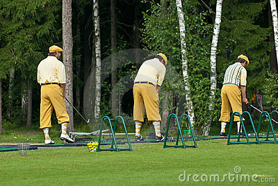 Three Golfers at Country Club Editorial Image