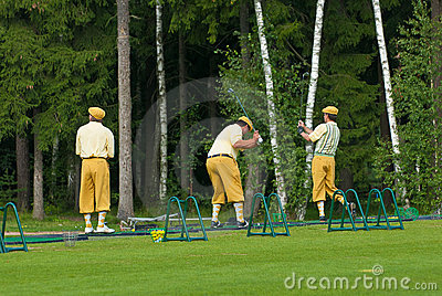 Three Golfers at Country Club Editorial Stock Photo
