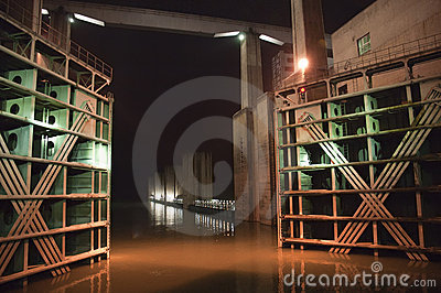 Three Gorges Dam Ship Locks Night Yangtze River