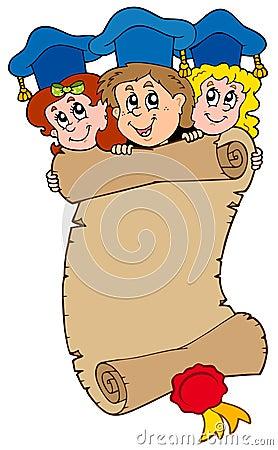 Three graduating kids with scroll