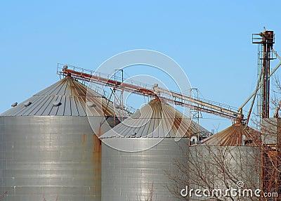 Three grain bins