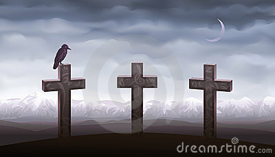 Three graves and a raven