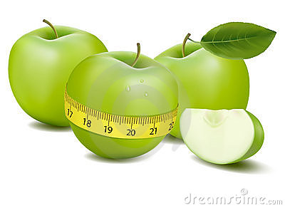 Three green apples measured the meter.