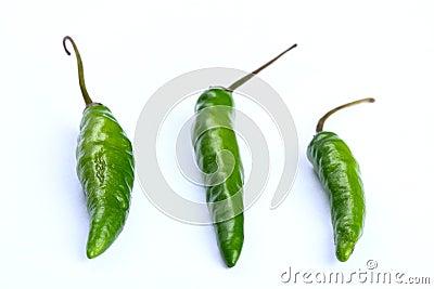 Three green chilli
