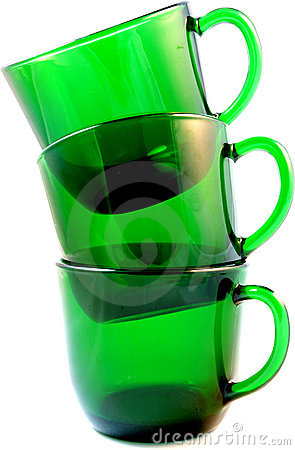 Free Three Green Glass Punch Cups Isolated Royalty Free Stock Image - 20413706