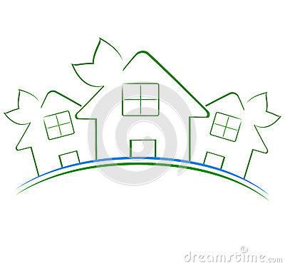 Three green houses icon