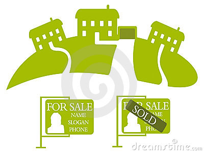 Three green houses - Vector