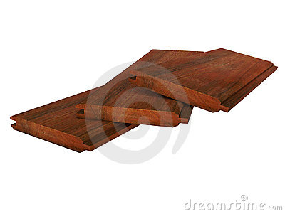 Three grooved wooden boards lying on white