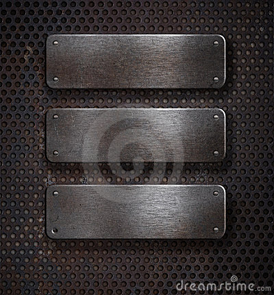 Free Three Grunge Rusty Metal Plates Over Grid Stock Images - 18037394
