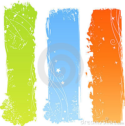 Free Three Grungy Multicolored Banners Stock Image - 10367521