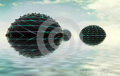 Three half spheres composition in water with sky