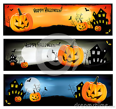 Three Halloween Banners  Vector Stock Images - Image: 26578794