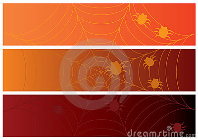 Three halloween banners with web and spiders