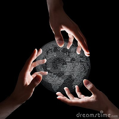 Free Three Hands Around Binary Earth Stock Photography - 18888492