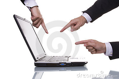 Three hands pointing to a laptop