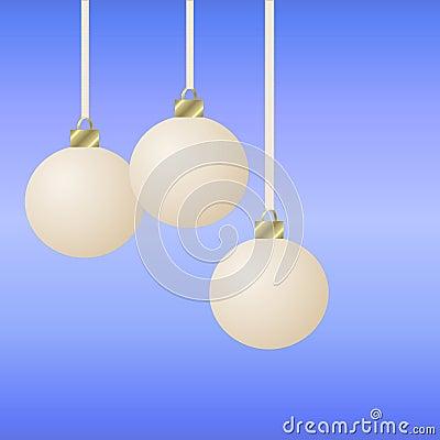 Three hanging white christmas ornaments