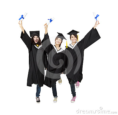 Three happy asian graduation student